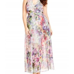 Floral Burst Halter Neck Maxi Dress